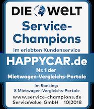 Die Welt Service-Champions - Nr.1 der Mietwagen-Vergleichs-Portale